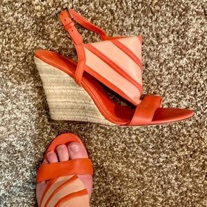 Tory Burch Leather Slingback Wedge Sandals